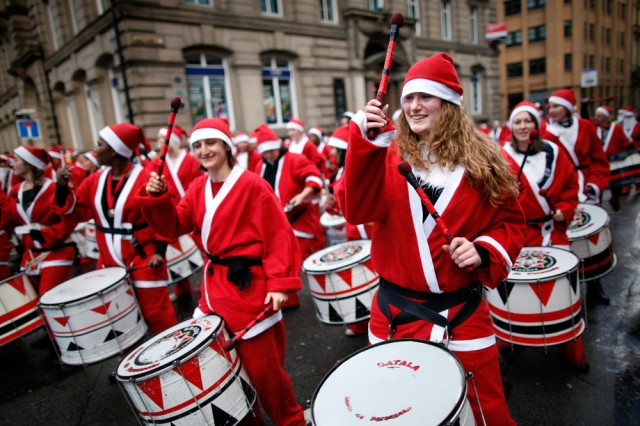 The annual Santa Dash in Liverpool, England